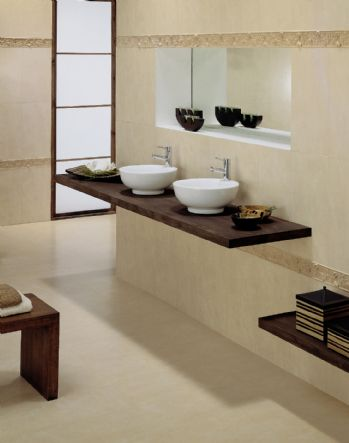 Modern beige bathroom the man cave for Banos modernos beige