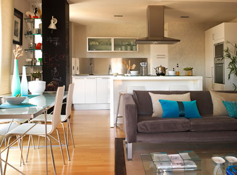 integrated kitchen and lounge