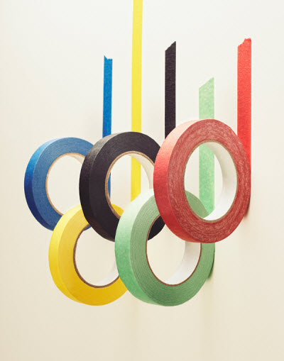olympic ring tape decor